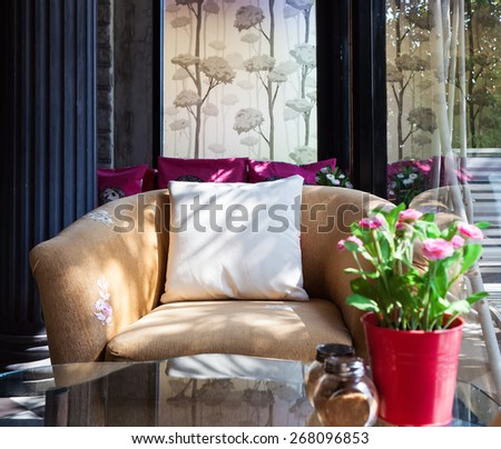 beautiful living room with brown sofa,asian style. - stock photo