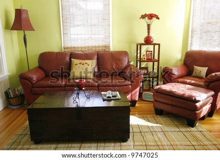 beautiful living room with leather furniture - stock photo