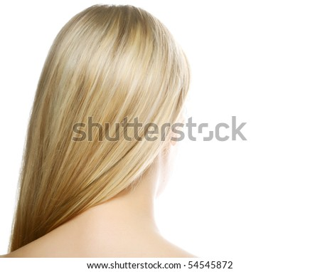 Beautiful long blond hair /woman shot from back isolated on white - stock photo