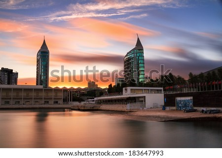 Beautiful long exposure at the location of the Lisbon expo '98 at sunset - stock photo