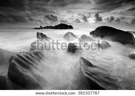 Beautiful long exposure seascape in black and white. Nature composition. - stock photo