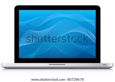 Beautiful looking modern laptop. Abstract blue wave pattern background. - stock photo