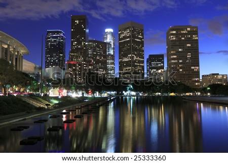 Beautiful Los Angeles skyline at night - stock photo