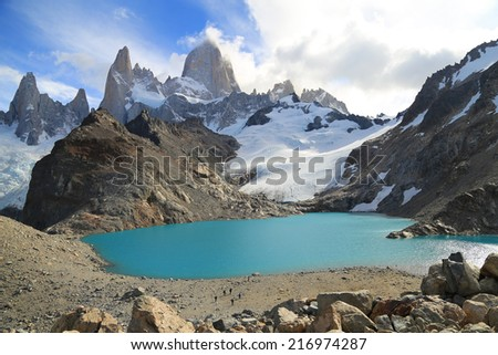 Beautiful Los Tres Lagoon with Mt Fitz Roy in the background as seen in Los Glaciers National Park, Patagonia, Argentina, South America. - stock photo