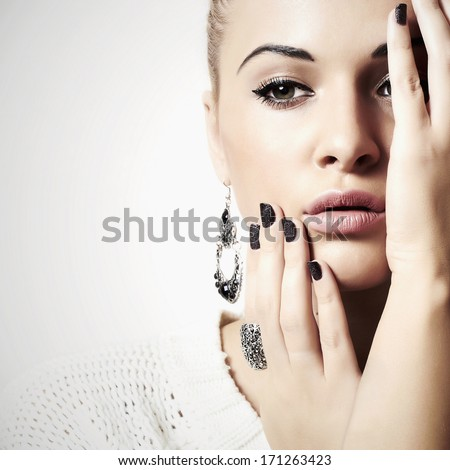 Beautiful Lovely Woman with Jewelry. Tender Beauty Girl Accessories. Manicure - stock photo