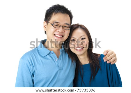 Beautiful Loving Couple on white background - stock photo