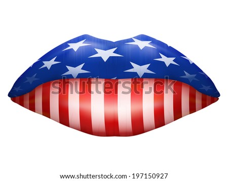 Beautiful luscious lips U.S. flag texture. Isolated on white. Bitmap copy. - stock photo