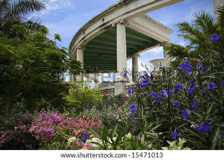 Beautiful lush garden in the tropics. - stock photo