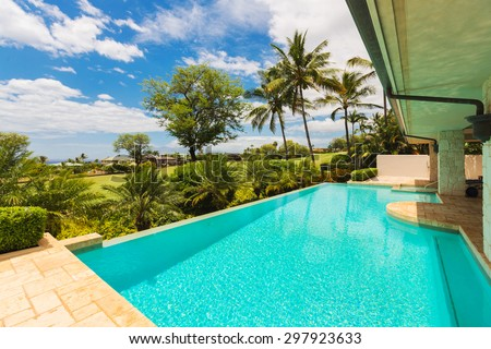 Beautiful Luxury Home with Swimming Pool - stock photo
