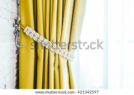 Beautiful luxury Window curtains decoration in bedroom interior with copy space for background - Vintage Light Filter - stock photo