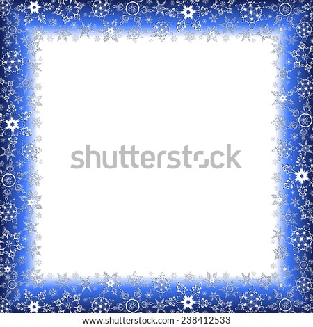 Beautiful luxury winter square frame with white stylized snowflakes. Christmas and New Year celebratory card with place for text. Stylish festive background. Raster illustration - stock photo