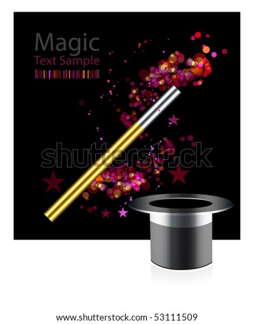 Beautiful magic background with wand and hat - stock photo