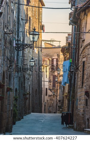 Beautiful magical nooks in the medieval town of Pitigliano. - stock photo