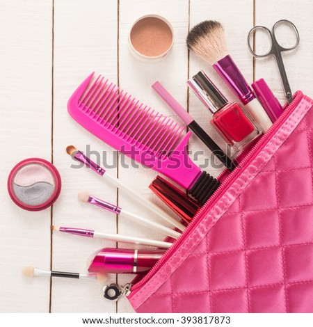 Beautiful make up bag with cosmetics    - stock photo