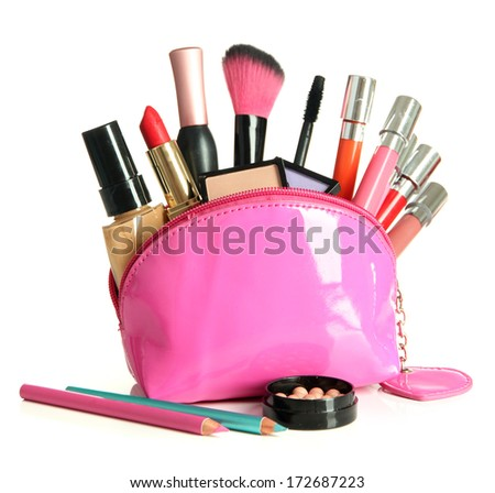 Beautiful make up bag with cosmetics , isolated on white - stock photo
