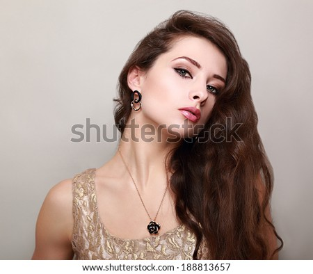 Beautiful makeup woman with long brown hair. Portrait - stock photo