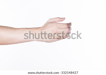 Beautiful man hand holding isolated on white background - stock photo