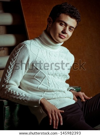 Beautiful man in fashionable clothes.  - stock photo