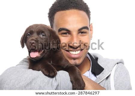 Beautiful man with dog - stock photo