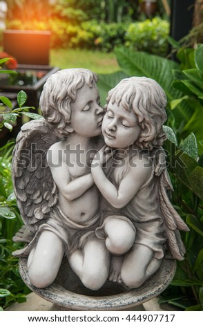 Beautiful marble statue of angel. (He is a public Built with donations No property for rent.)  - stock photo