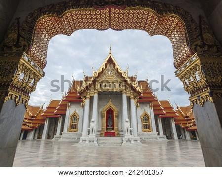 beautiful marble temple in BANGKOK, THAILAND - stock photo