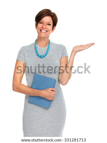 Beautiful mature business woman isolated over white background. - stock photo