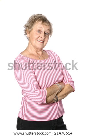 Beautiful mature caucasian woman in pink stripy top - stock photo