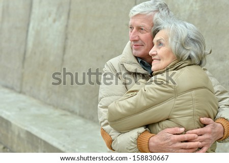 beautiful Mature couple relaxing together in autumn - stock photo