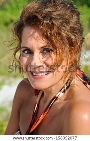 Beautiful Mature Woman in a Sundress - stock photo