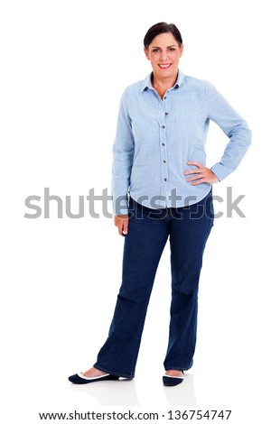 beautiful mature woman standing on white background - stock photo