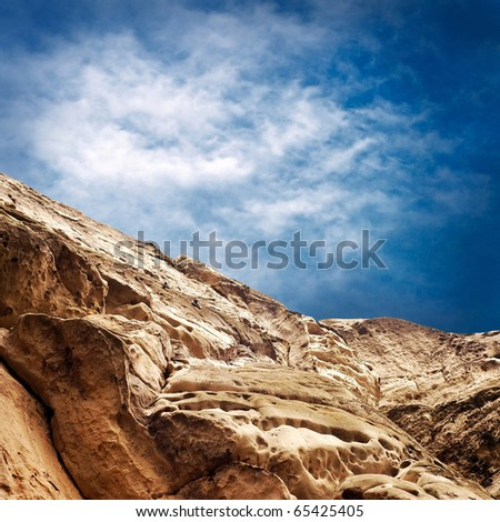 Beautiful mauntain under sky with clouds - stock photo