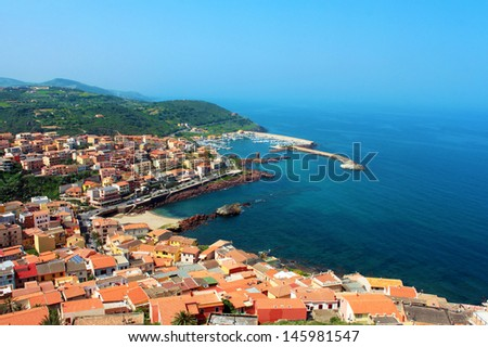 Beautiful medieval town Castelsardo on the north coast of Sardinia island, Italy - stock photo