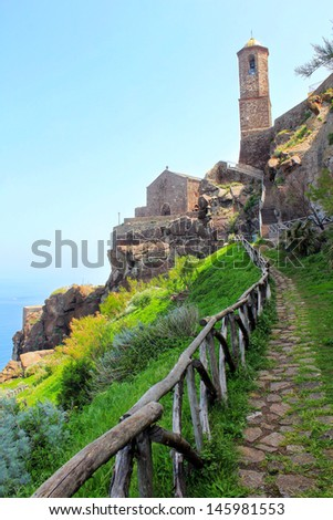 Beautiful medieval town Castelsardo on the north coast of Sardinia island, Italy,  - stock photo