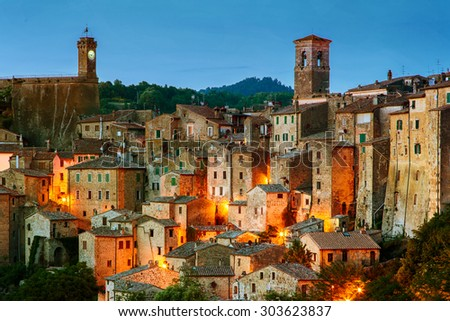 Beautiful medieval town in Tuscany, Sorano-(Grosseto, Tuscany, Italy) Vintage effect - stock photo