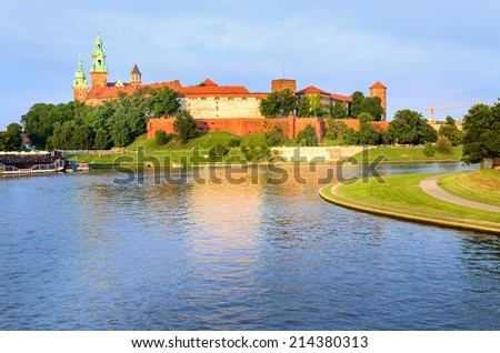 Beautiful medieval Wawel Castle and Vistula River, Cracow, Poland  - stock photo