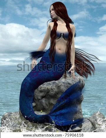 Beautiful mermaid on a rock - stock photo