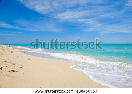 Beautiful Miami Beach on a bright sunny day. - stock photo