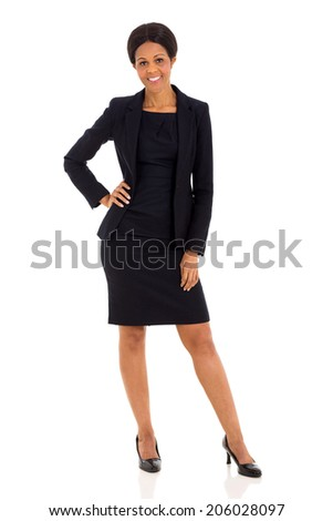 beautiful middle aged african businesswoman isolated on white background - stock photo