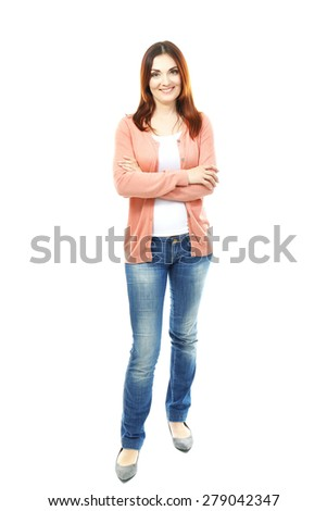 Beautiful middle aged woman isolated on white - stock photo
