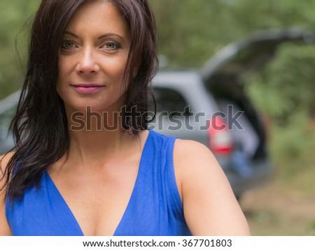 beautiful middle aged woman portrait - stock photo