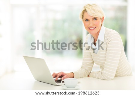 beautiful middle aged woman using computer  - stock photo