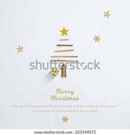 Beautiful Minimal Christmas Card - stock photo