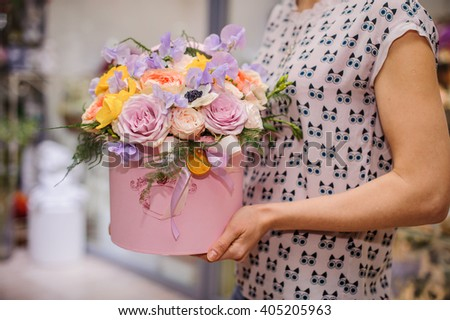 beautiful  mix flower bouquet in round box with lid - stock photo