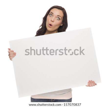 Beautiful Mixed Race Female Holding Blank Sign Isolated on a White Background.   - stock photo