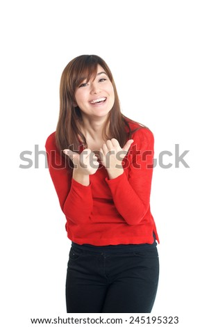 Beautiful mixed race girl in red thumbs up on white background - stock photo