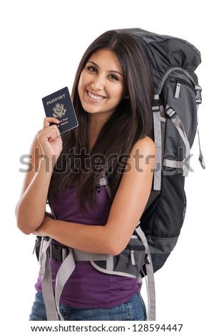 Beautiful mixed race Mexican Japanese backpacker holding passport isolated on a white background - stock photo