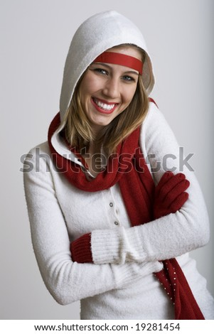 Beautiful model grinning dressed for the holidays - stock photo