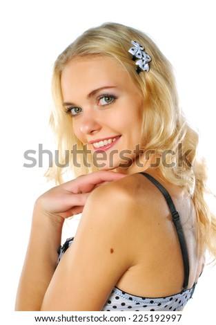 Beautiful model in bra - stock photo