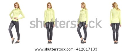 Beautiful model in leather pants isolated - stock photo