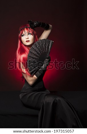 beautiful model posing as chess queen - fashion and beauty concept,  - stock photo